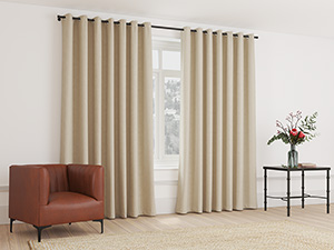 Blockout Curtain Eyelet Sandy Brown - 230 x 218cm