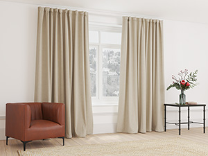 Blockout Curtain Taped Sandy Brown - 265 x 250cm