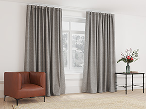 Blockout Curtain Taped Silver Grey - 265 x 218cm