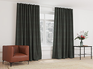 Blockout Curtain Taped Coal Grey - 265 x 218cm