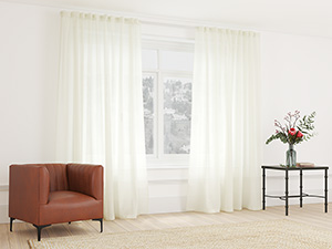 Sheer Curtain Taped Creamy White - 265 x 250cm