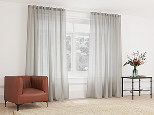 Sheer Curtain Taped Earthy Brown - 265 x 250cm