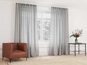 Sheer Curtain Taped Storm Grey - 265 x 250cm