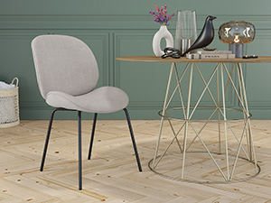 Dining Chair Beetle Plaster Beige Black Legs