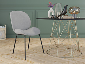 Dining Chair Beetle Cement Grey Black Legs