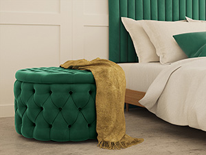 Storage Ottoman Julianne Emerald Green Velvet