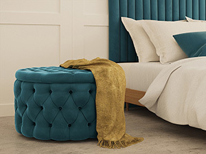 Storage Ottoman Julianne Adriatic Blue Velvet