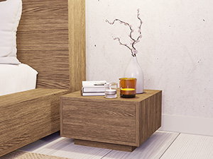 Oak Floating Pedestal Antares Walnut Finish