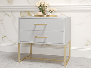 Bedside Pedestal Lilo Satin Light Grey
