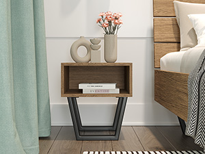 Oak Bedside Pedestal Motto Walnut Finish