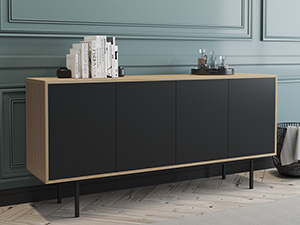 Server Atra Large Oak Clear Finish with Charcoal Cabinet