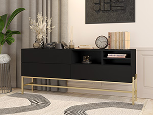 Metal Framed Server Envelo Midnight Black with Gold Base