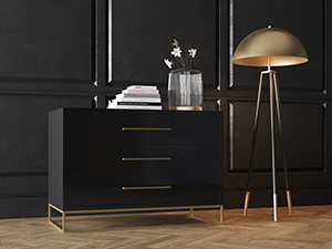 3 Drawer Server Lilo Satin Black