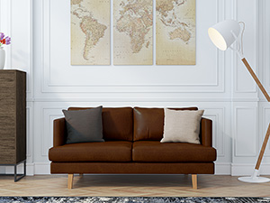 2 Seater Couch Orson Walnut Leather