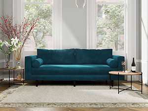 3 Seater Couch Volu Peacock Blue Velvet