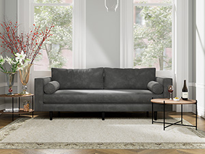 3 Seater Couch Volu Silver Lining Grey Velvet