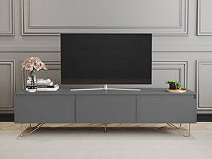 Hairpin TV Stand 3 Drawer Stylo Dark Grey