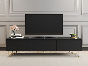 Hairpin TV Stand 3 Drawer Stylo Satin Black